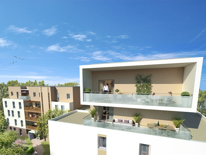 Photo du bien immobilier  : Programme neuf amplitude montpellier appartement t3 prix direct promoteur